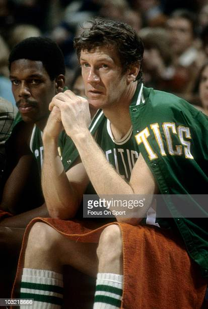 John Havlicek of the Boston Celtics watching the action from the bench circa 1977 during an NBA basketball game Havlicek played for the Celtics from...
