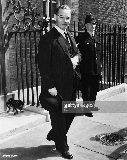 John Hay Whitney US Ambassador in the United Kingdom pictured outside 10 Downing Street after a discussion about troops in Jordan London July 17th...