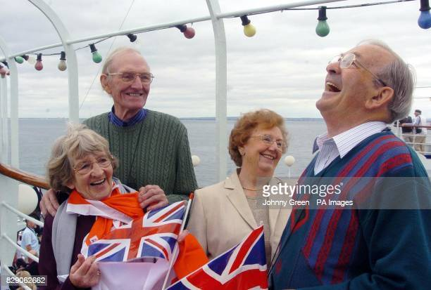 John Heawood and his wife Irene from Woolaton Notts with friends Reg and Sylvia Constable from Kimberley Notts aboard the ferry MV van Gogh as it...