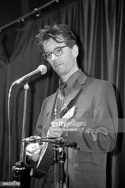 John Hegley performs on stage Comedy Tent Glastonbury Festival United Kingdom 1990