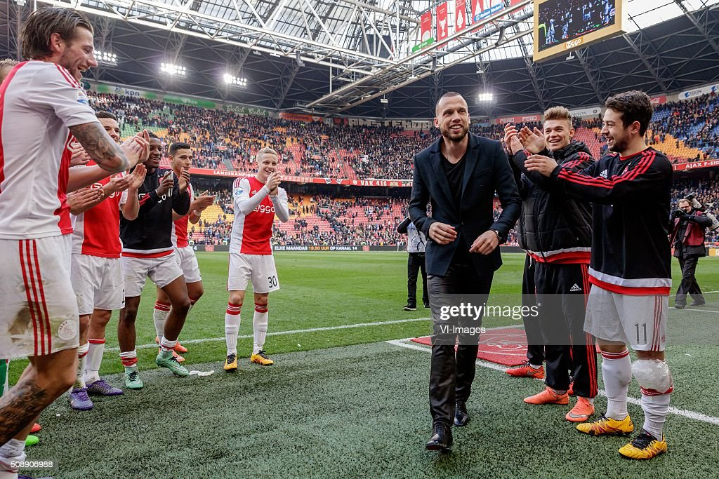 John Heitinga of Ajax during the Dutch Eredivisie match between Ajax Amsterdam and Feyenoord Rotterdam at the Amsterdam Arena on February 07, 2016 in Amsterdam, The Netherlands