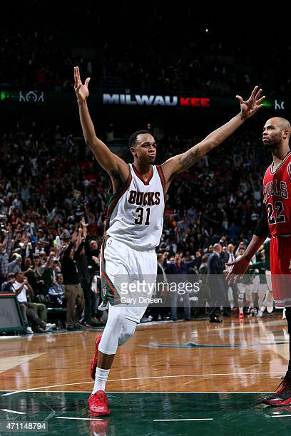 John Henson of the Milwaukee Bucks celebrates a win against the Chicago Bulls in Game Four of the Eastern Conference Quarterfinals during the 2015...