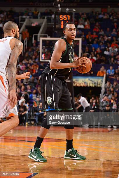 John Henson of the Milwaukee Bucks handles the ball during the game against the Phoenix Suns on December 20 2015 at US Airways Center in Phoenix...