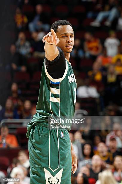 John Henson of the Milwaukee Bucks looks on during the game against the Cleveland Cavaliers on October 13 2015 at Quicken Loans Arena in Cleveland...