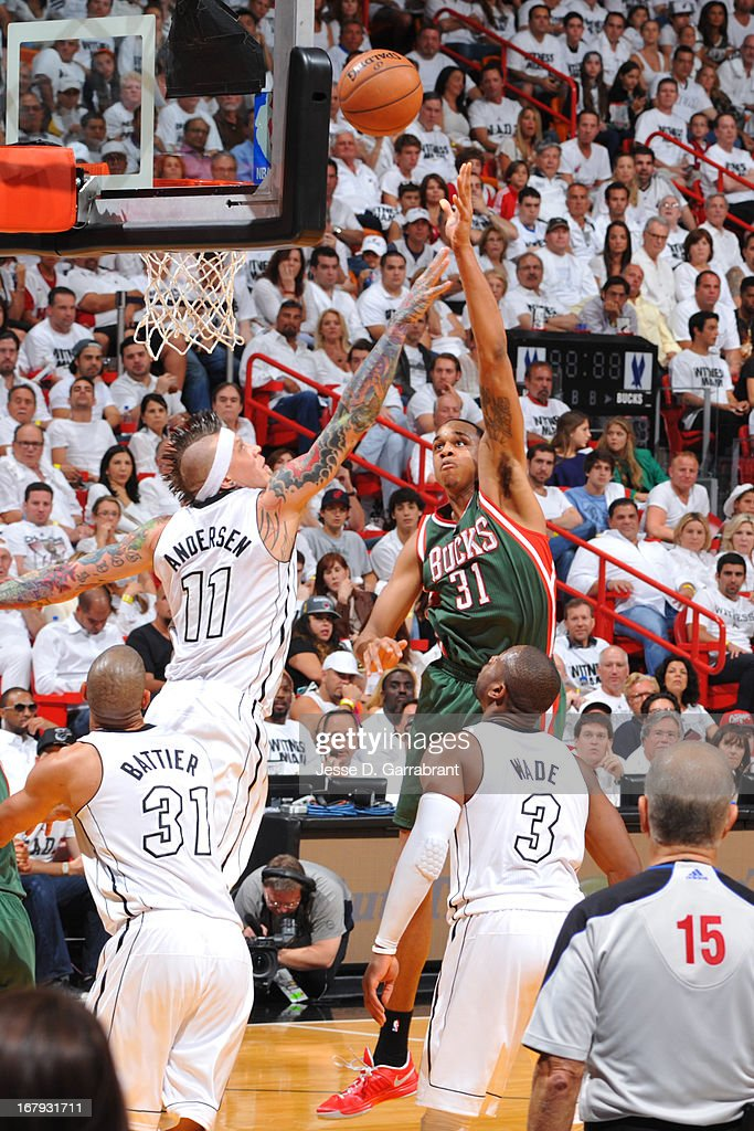 John Henson #31 of the Milwaukee Bucks puts up a shot against the Miami Heat in Game One of the Eastern Conference Quarterfinals during the 2013 NBA Playoffs on April 21, 2013 at American Airlines Arena in Miami, Florida.