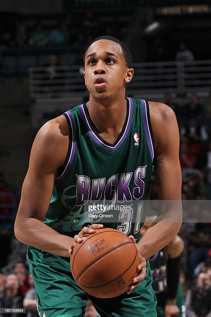 John Henson #31 of the Milwaukee Bucks shoots a free throw against the Orlando Magic on February 2, 2013 at the BMO Harris Bradley Center in Milwaukee, Wisconsin.