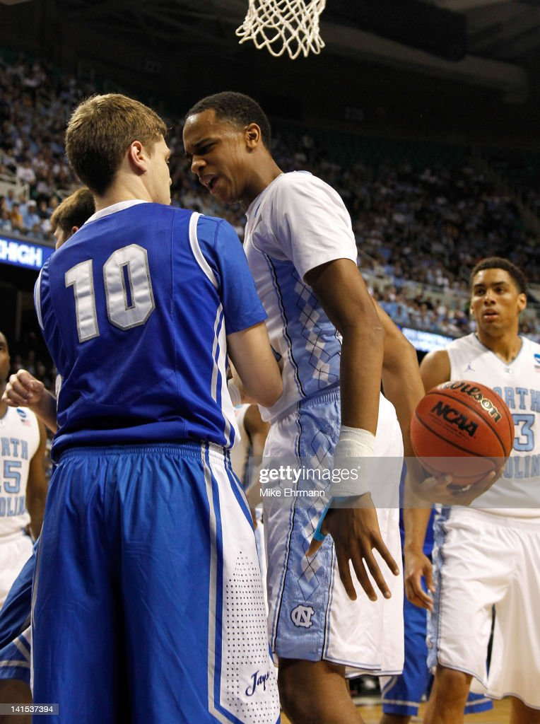 John Henson of the North Carolina Tar Heels gets in the face of Grant Gibbs of the Creighton Bluejays as Henson is called for a technical foul in the...