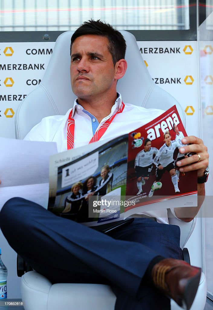John Herdman, head coach of Canada looks on before the Women's International Friendly match between Germany and Canada at Benteler Arena on June 19, 2013 in Paderborn, Germany.