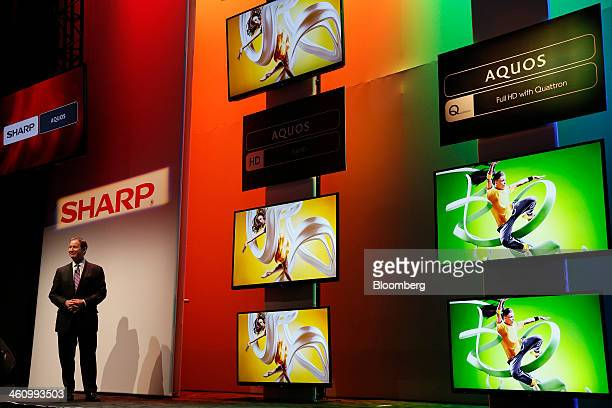 John Herrington president of Sharp Electronics Marketing Co of America introduces new 4K and HD Aquos televisions during a news conference at the...