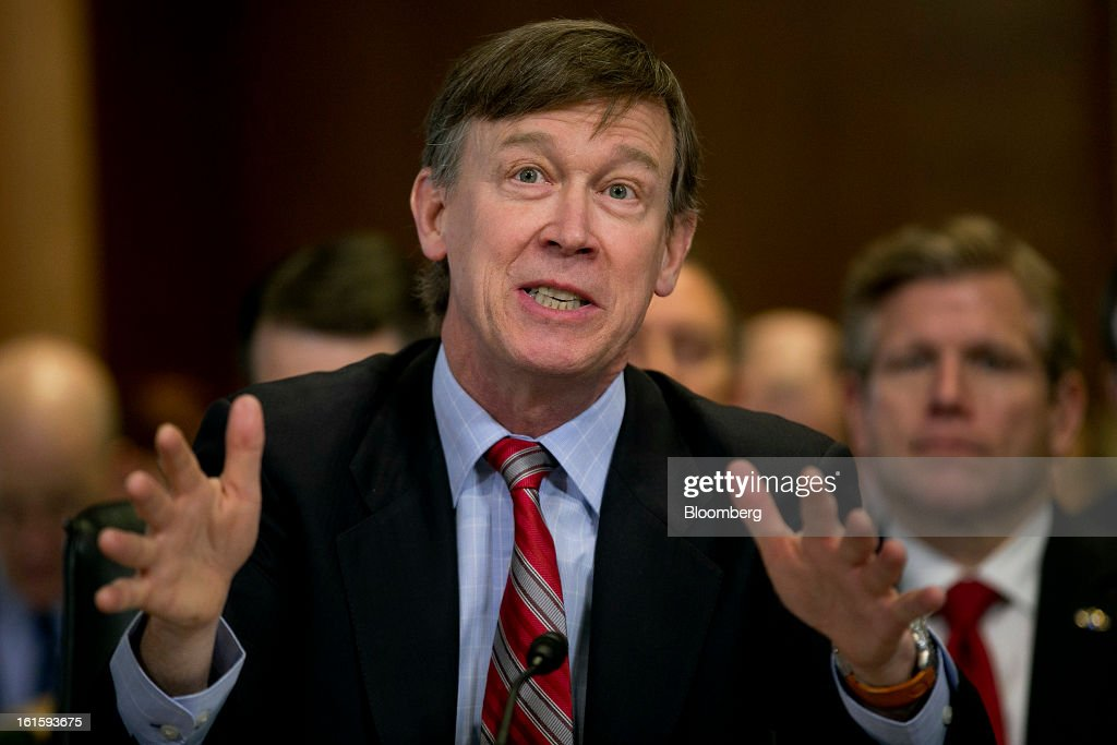 John Hickenlooper, governor of Colorado, speaks during a Senate Energy and Natural Resources Committee hearing in Washington, D.C., U.S., on Tuesday, Feb. 12, 2013. The top two members of a Senate committee for energy split over expanding U.S. natural gas exports, mirroring a disagreement between fuel consumers such as Dow Chemical Co. and producers such as Exxon Mobil Corp. Photographer: Andrew Harrer/Bloomberg via Getty Images