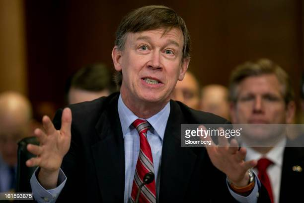 John Hickenlooper governor of Colorado speaks during a Senate Energy and Natural Resources Committee hearing in Washington DC US on Tuesday Feb 12...