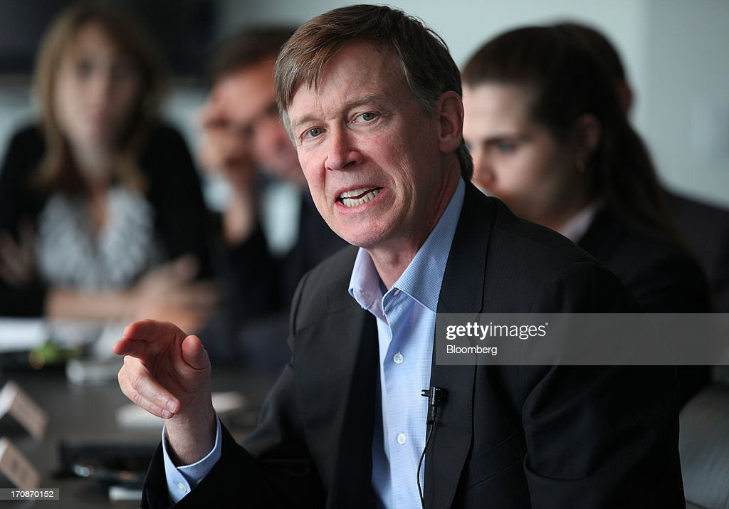 <a gi-track='captionPersonalityLinkClicked' href=/galleries/search?phrase=John+Hickenlooper&family=editorial&specificpeople=4104050 ng-click='$event.stopPropagation()'>John Hickenlooper</a>, governor of Colorado, speaks during an interview in Washington, D.C., U.S., on Wednesday, June 19, 2013. 'Were going to regulate the living daylights out of it,' Hickenlooper said speaking about marijuana regulation. Photographer: Julia Schmalz/Bloomberg via Getty Images