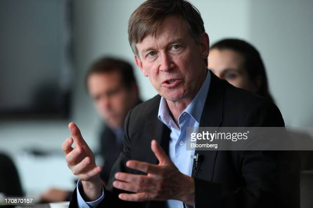 John Hickenlooper governor of Colorado speaks during an interview in Washington DC US on Wednesday June 19 2013 'Were going to regulate the living...