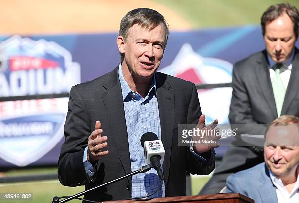 John Hickenlooper Governor of Colorado speaks during the announcement of 2016 Coors Light NHL Stadium Seriesat Coors Field on September 21 2015 in...