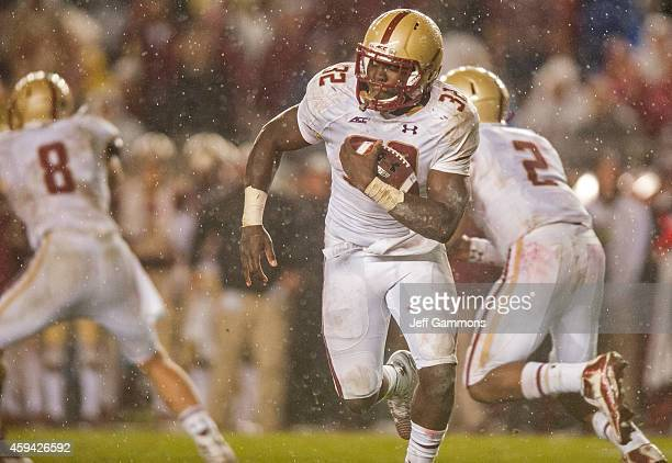 John Hilliman of the Boston College Eagles looks for a hole in the Florida State Seminoles line during the game at Doak Campbell Stadium on November...