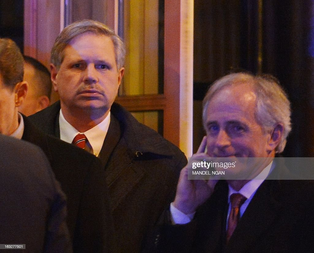 John Hoeven (L), R-ND, and Senator Bob Corker (R), R-TN, are seen outside the Jefferson Hotel following a dinner with US President Barack Obama and a group of fellow Republican senators on March 6, 2013 in Washington, DC. President Obama met Republican senators for a rare dinner March 6, 2013, as he sought to end an ugly budget stalemate that is clouding the early days of his second term. AFP PHOTO/Mandel NGAN