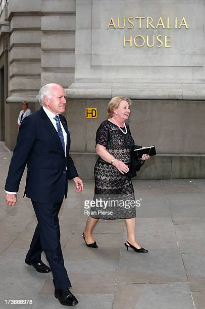 John Howard and Janette Howard arrive for the Australian Cricket Team visit to the Australian High Commision on July 16 2013 in London England