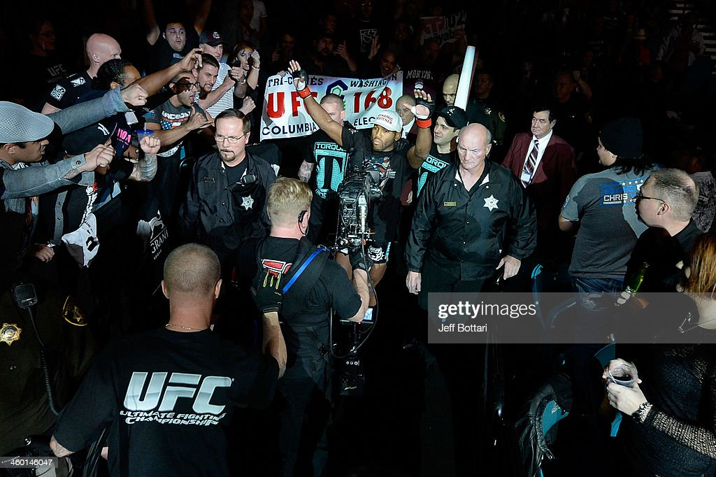 John Howard enters the arena before his welterweight bout against Siyar Bahadurzada during the UFC 168 event at the MGM Grand Garden Arena on December 28, 2013 in Las Vegas, Nevada.