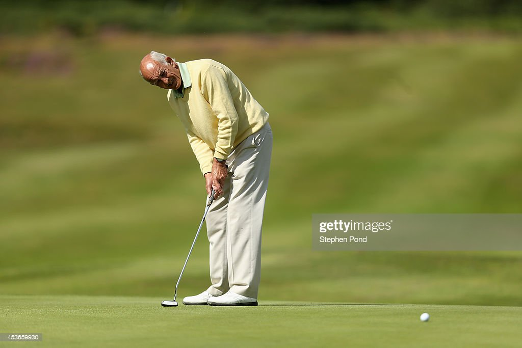 John Hudson in action during day two of the PGA Super 60's Tournament at Thorpeness Hotel and Golf Club on August 15, 2014 in Thorpeness, England.