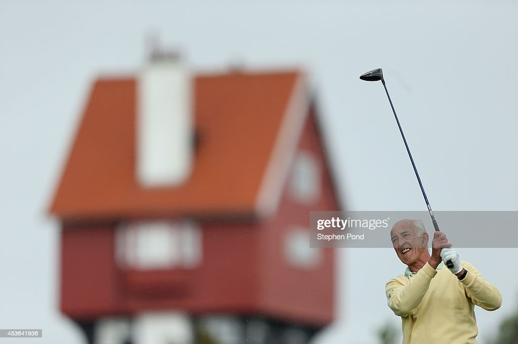 John Hudson tees off on the third hole during day two of the PGA Super 60's Tournament at Thorpeness Hotel and Golf Club on August 15, 2014 in Thorpeness, England.
