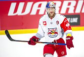 John Hughes of Red Bull Salzburg during the Champions Hockey League group stage game between HV71 Jonkoping and Red Bull Salzburg on August 22 2015...
