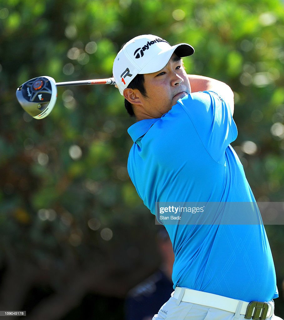 John Huh hits a drive on the first hole during the replay of the first round of the Hyundai Tournament of Champions at Plantation Course at Kapalua on January 6, 2013 in Kapalua, Maui, Hawaii.