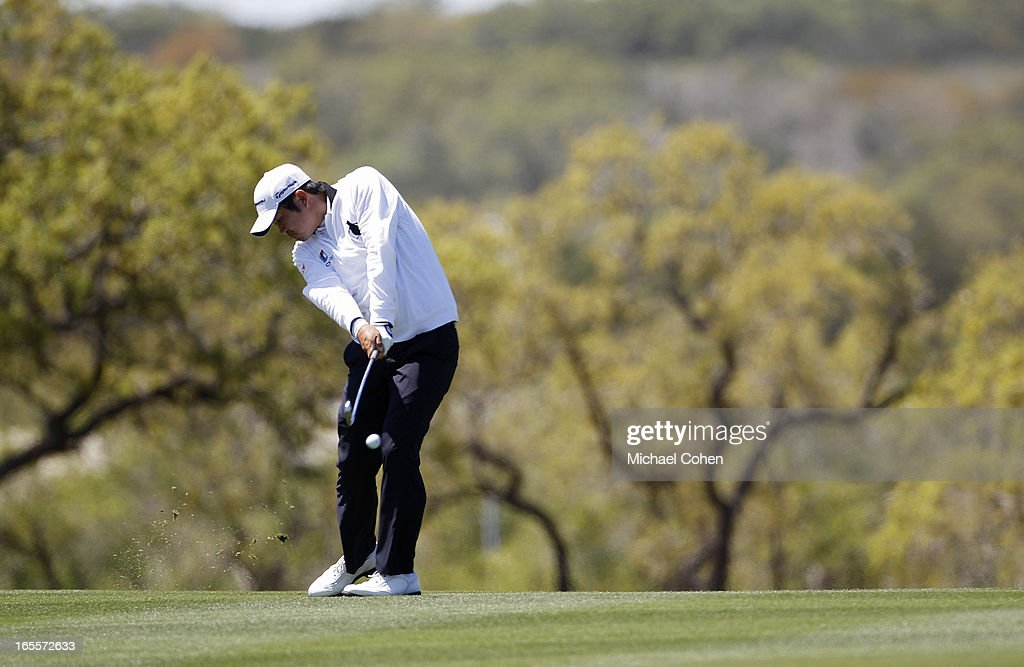 <a gi-track='captionPersonalityLinkClicked' href=/galleries/search?phrase=John+Huh&family=editorial&specificpeople=7338587 ng-click='$event.stopPropagation()'>John Huh</a> hits a shot from the fairway during the first round of the Valero Texas Open held at the AT&T Oaks Course at TPC San Antonio on April 4, 2013 in San Antonio, Texas.