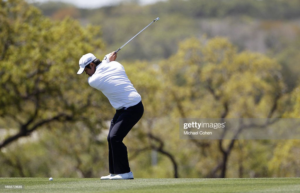 John Huh hits a shot from the fairway during the first round of the Valero Texas Open held at the AT&T Oaks Course at TPC San Antonio on April 4, 2013 in San Antonio, Texas.