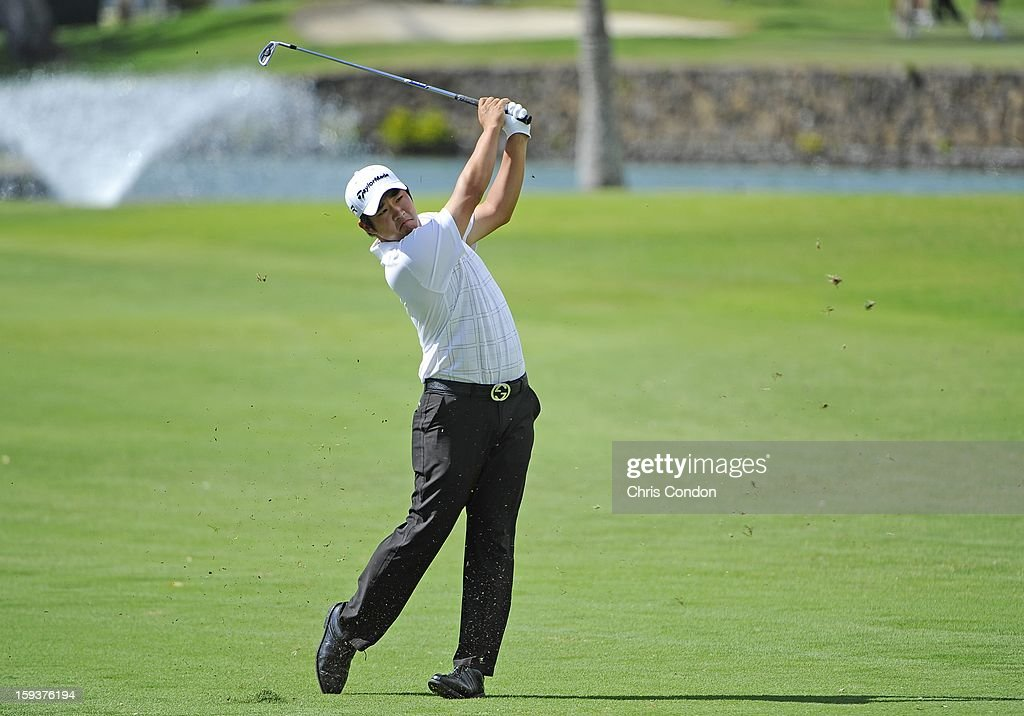 <a gi-track='captionPersonalityLinkClicked' href=/galleries/search?phrase=John+Huh&family=editorial&specificpeople=7338587 ng-click='$event.stopPropagation()'>John Huh</a> hits from the second fairway during the third round of the Sony Open in Hawaii at Waialae Country Club on January 12, 2013 in Honolulu, Hawaii.