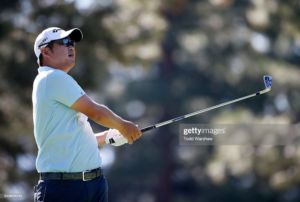 <a gi-track='captionPersonalityLinkClicked' href=/galleries/search?phrase=John+Huh&family=editorial&specificpeople=7338587 ng-click='$event.stopPropagation()'>John Huh</a> plays his shot from the third tee during the first round of the Barracuda Championship at the Montreux Golf and Country Club on June 30, 2016 in Reno, Nevada.