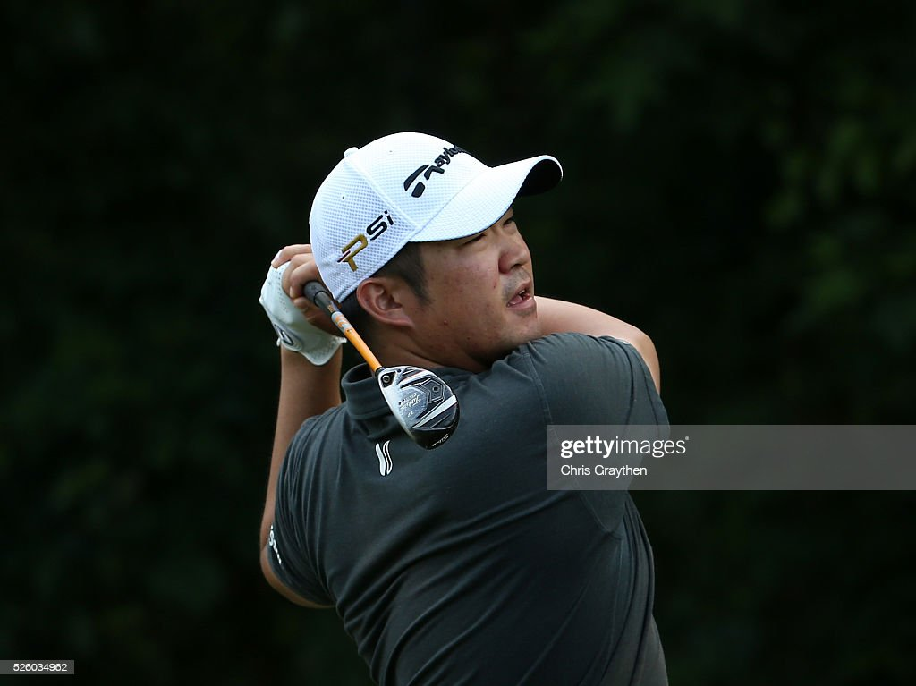 <a gi-track='captionPersonalityLinkClicked' href=/galleries/search?phrase=John+Huh&family=editorial&specificpeople=7338587 ng-click='$event.stopPropagation()'>John Huh</a> tees off on the 16th hole during a continuation of the first round of the Zurich Classic of New Orleans at TPC Louisiana on April 29, 2016 in Avondale, Louisiana.