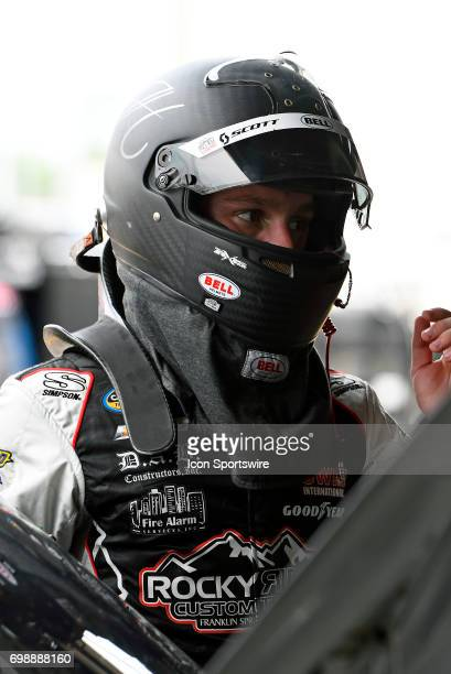 John Hunter Nemechek Chevrolet Silverado climbs out of his truck after finishing final practice for the NASCAR Camping World Truck Series Drivin' for...