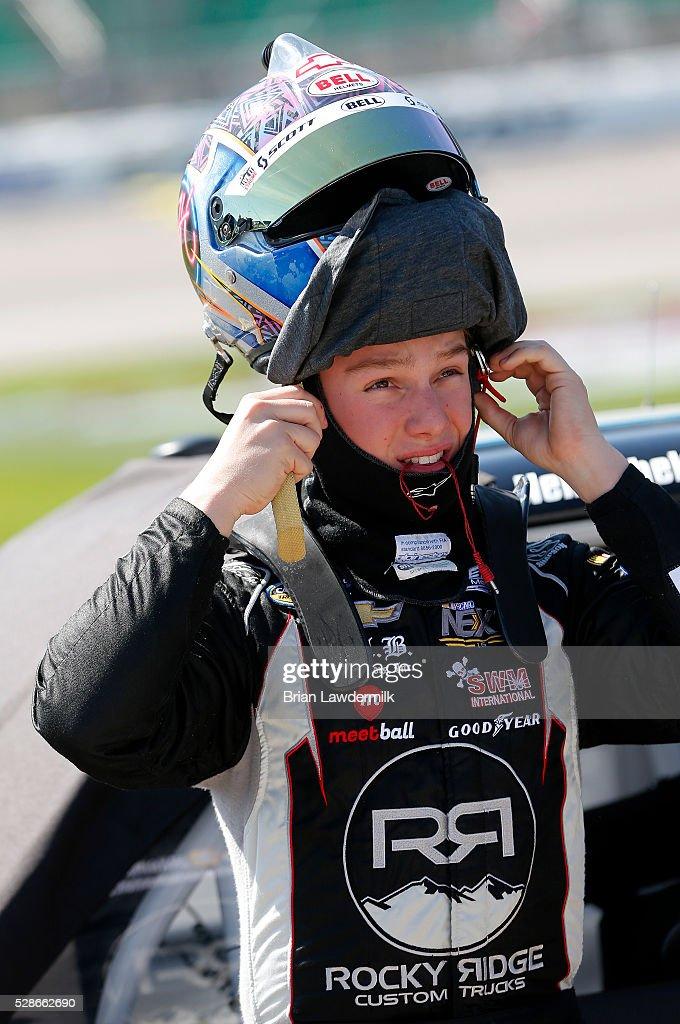 John Hunter Nemechek, driver of the #8 Andy's Frozen Custard Chevrolet, looks on during qualifying for the NASCAR Camping World Truck Series Toyota Tundra 250 at Kansas Speedway on May 6, 2016 in Kansas City, Kansas.