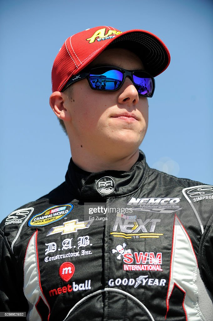 John Hunter Nemechek, driver of the #8 Andy's Frozen Custard Chevrolet, looks on during qualifying for the NASCAR Camping World Truck Series Toyota Tundra 250 at Kansas Speedway on May 6, 2016 in Kansas City, Kansas.