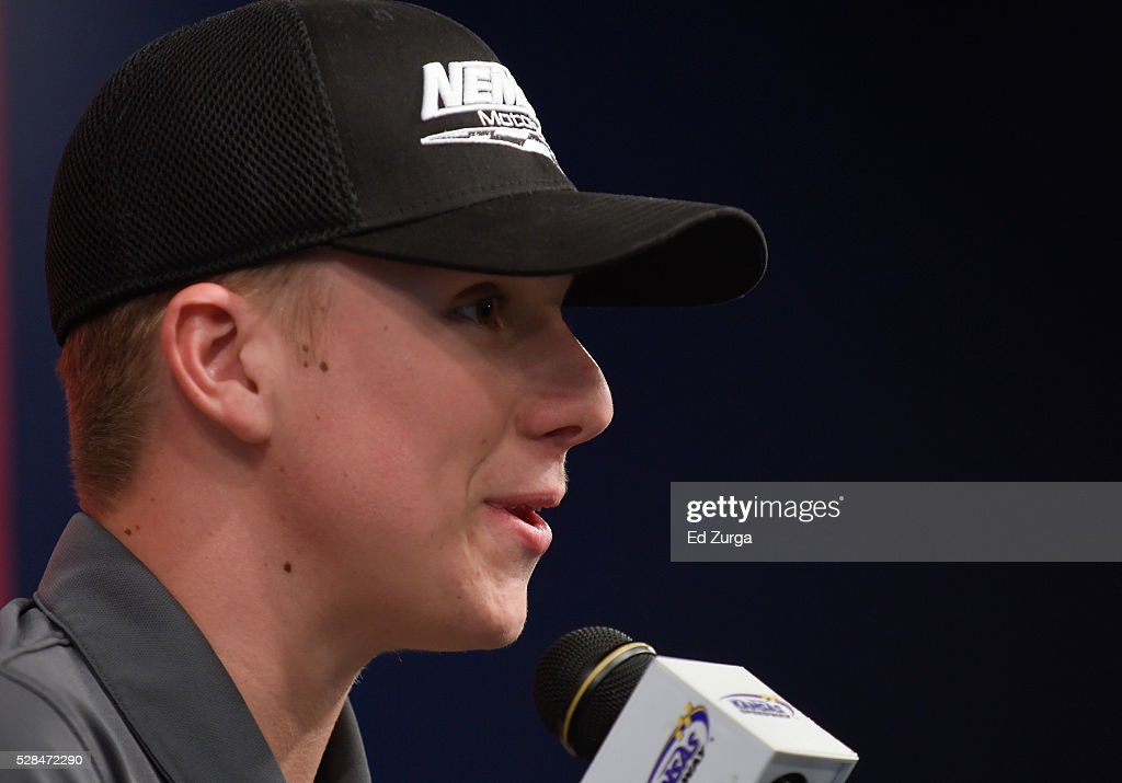 John Hunter Nemechek, driver of the #8 Andy's Frozen Custard Chevrolet, talks to the media prior to a practice sessions for the Toyota Tundra 250 at Kansas Speedway on May 5, 2016 in Kansas City, Kansas.