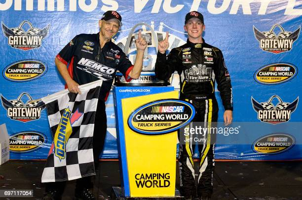 John Hunter Nemechek driver of the Chevrolet Silverado and his crew chief Gere Kennon pose for a photo after winning the NASCAR Camping World Trucks...