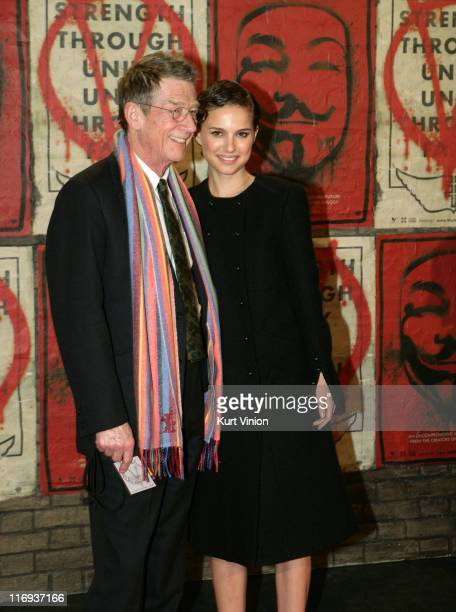 John Hurt and Natalie Portman during 56th Berlinale International Film Festival 'V for Vendetta' After Party at Berlinale in Berlin Germany