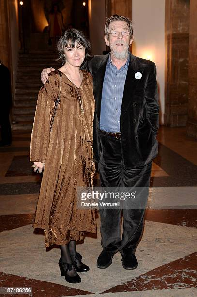 John Hurt and wife Ann Rees Meyers attend the Vanity Fair Dinner during The 8th Rome Film Festival at Villa Medici on November 9 2013 in Rome Italy