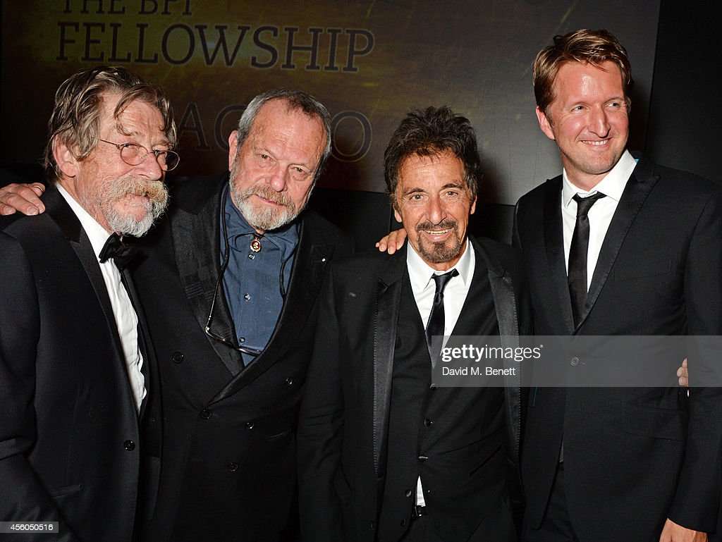 John Hurt Terry Gilliam Al Pacino and Tom Hooper attend the Al Pacino BFI Fellowship Dinner supported by Moet Chandon at the Corinthia Hotel London...