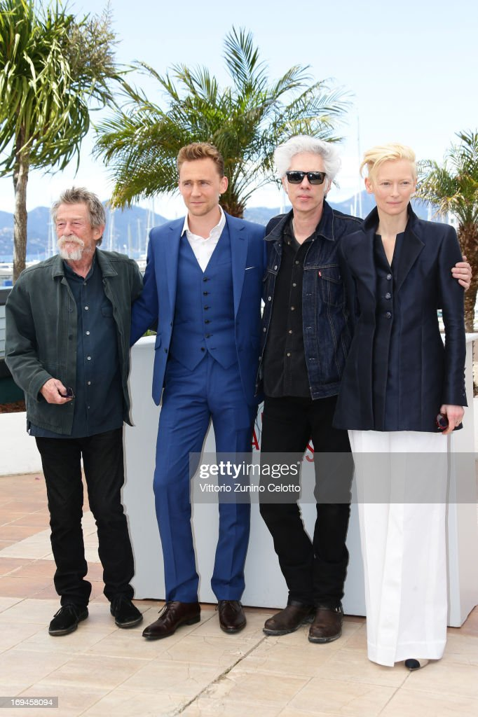 John Hurt, <a gi-track='captionPersonalityLinkClicked' href=/galleries/search?phrase=Tom+Hiddleston&family=editorial&specificpeople=4686407 ng-click='$event.stopPropagation()'>Tom Hiddleston</a>, Director <a gi-track='captionPersonalityLinkClicked' href=/galleries/search?phrase=Jim+Jarmusch&family=editorial&specificpeople=208784 ng-click='$event.stopPropagation()'>Jim Jarmusch</a> and <a gi-track='captionPersonalityLinkClicked' href=/galleries/search?phrase=Tilda+Swinton&family=editorial&specificpeople=202991 ng-click='$event.stopPropagation()'>Tilda Swinton</a> attend the 'Only Lovers Left Alive' Photocall during The 66th Annual Cannes Film Festival on May 25, 2013 in Cannes, France.