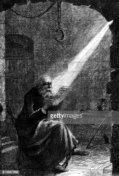 John Huss or Hus Bohemian religious reformer and theologian Burned at stake at Constance as a heretic Huss in prison Illustration by Charles Joseph...