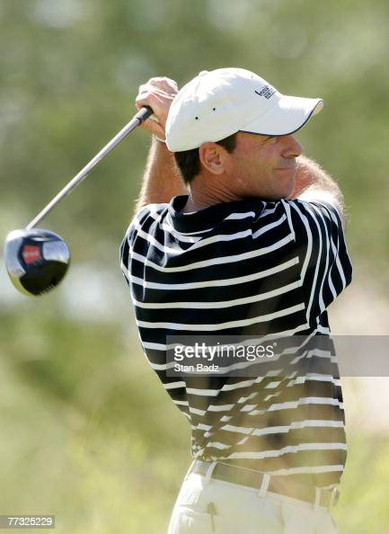 John Huston hits his tee shot at the tenth hole during the fourth round of the Fryscom Open benefiting Shriners Hospitals for Children at TPC...
