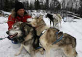 John Huston pets sled dogs December 14 near Ely Minnesota Huston a polar adventurer and dog musher is preparing for a global warming expedition