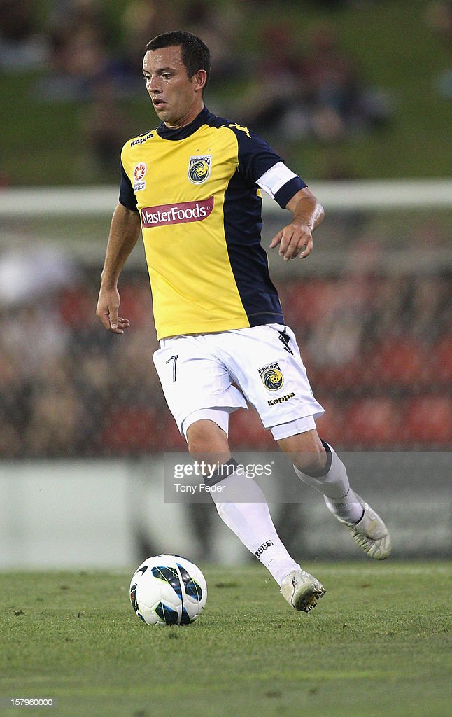 John Hutchinson of the Mariners controls the ball during the round ten A-League match between the Newcastle Jets and the Central Coast Mariners at Hunter Stadium on December 8, 2012 in Newcastle, Australia.