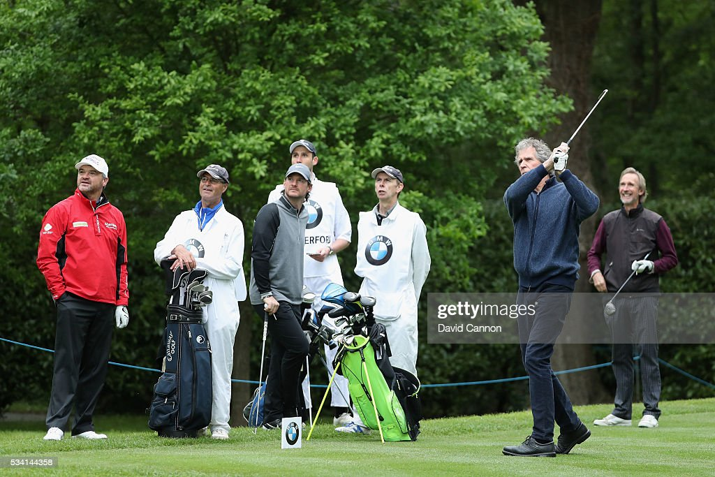 John Illsley tees off during the Pro-Am prior to the BMW PGA Championship at Wentworth on May 25, 2016 in Virginia Water, England.