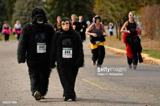 John Ingram left and his wife Noelle and dozens of people in gorilla suits near the finish line during the 11th annual Denver Gorilla 5K fun run near...