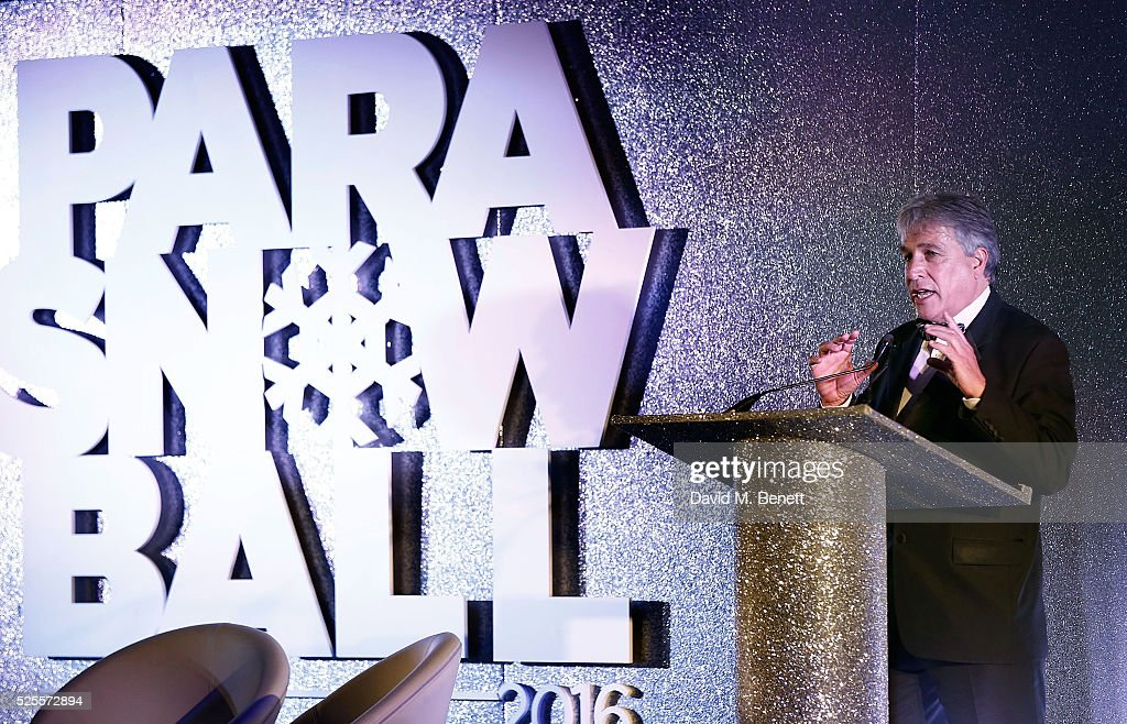 John Inverdale speaks on stage at the ParaSnowBall 2016 Disability Snowsport UK sponsored by Crystal Ski Holidays and Salomon, at The Hurlingham Club on April 28, 2016 in London, England.