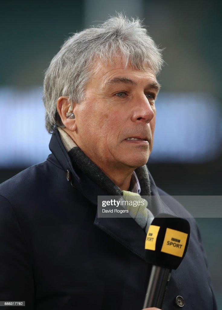John Inverdale, the BBC Sports presenter looks on during the Varsity match between Oxford University and Cambridge University at Twickenham Stadium on December 7, 2017 in London, England.