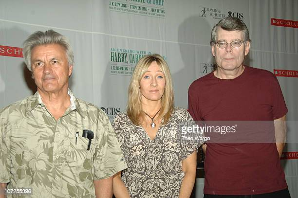 John Irving JK Rowling and Stephen King during 'Harry Carrie and Garp' Press Conference with JK Rowling Stephen King and John Irving at Radio City...