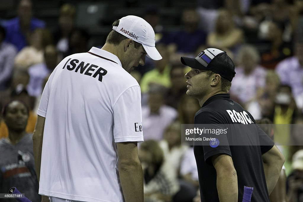 John Isner and Andy Roddick of the U.S. during the exhibition doubles match during the 2013 Mylan WTT Smash Hits on November 17, 2013 at the ESPN Wide World of Sports Complex in Lake Buena Vista, Florida.